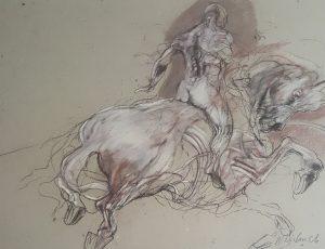 """""""Cavalier"""" dessin original au pastel 51x67cm"""