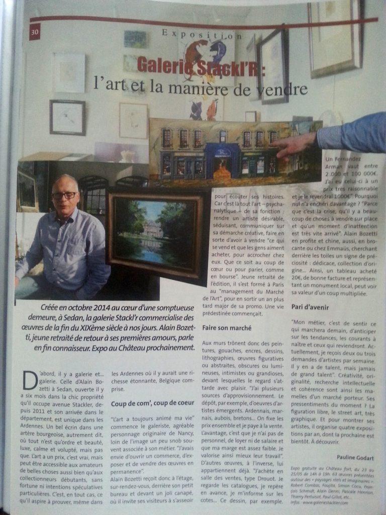 Mag info, mai 2015 article de la journaliste Pauline GODART concernant la Galerie