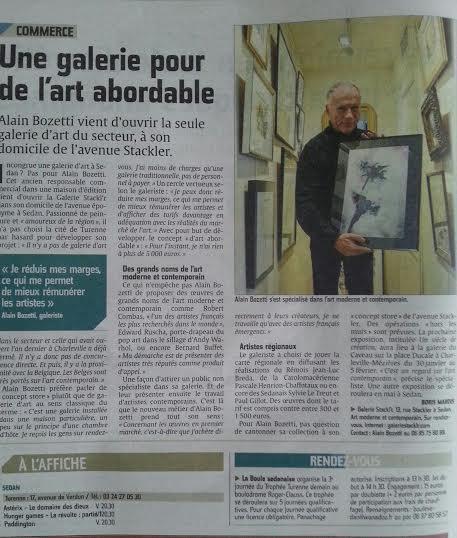 Un article de Boris Marois dans le journal L'ARDENNAIS du 5 décembre sur la galerie STACKL'R