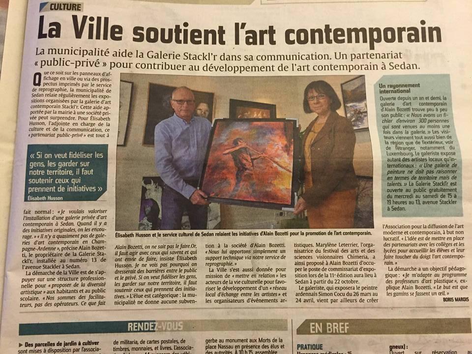 L'Union, L'Ardennais du 20 mars 2016 : La Ville Soutien l'Art Contemporain