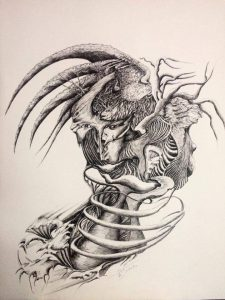 Sylvie Le-Treut encre de chine sur papier 50x60cm