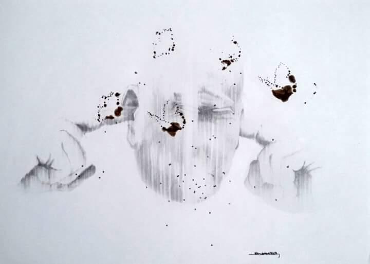 Tomas SCHERER dessin à l'encre sur papier