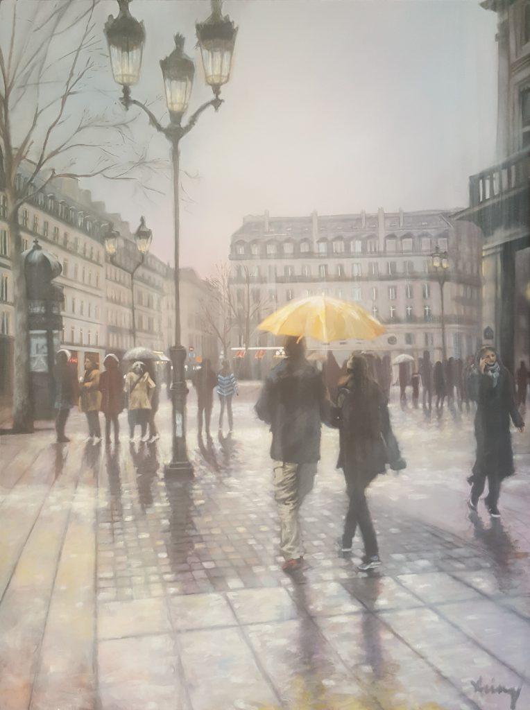 Rain in Paris , huile sur toile, 91x127cm