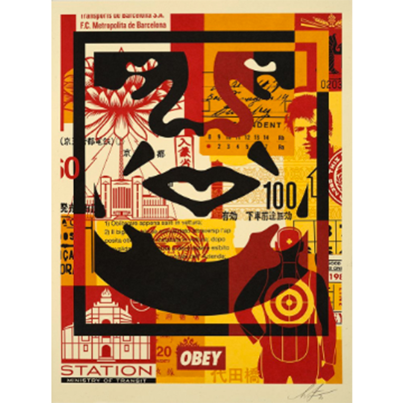 Three faces collage (Shepard Fairey - Obey)