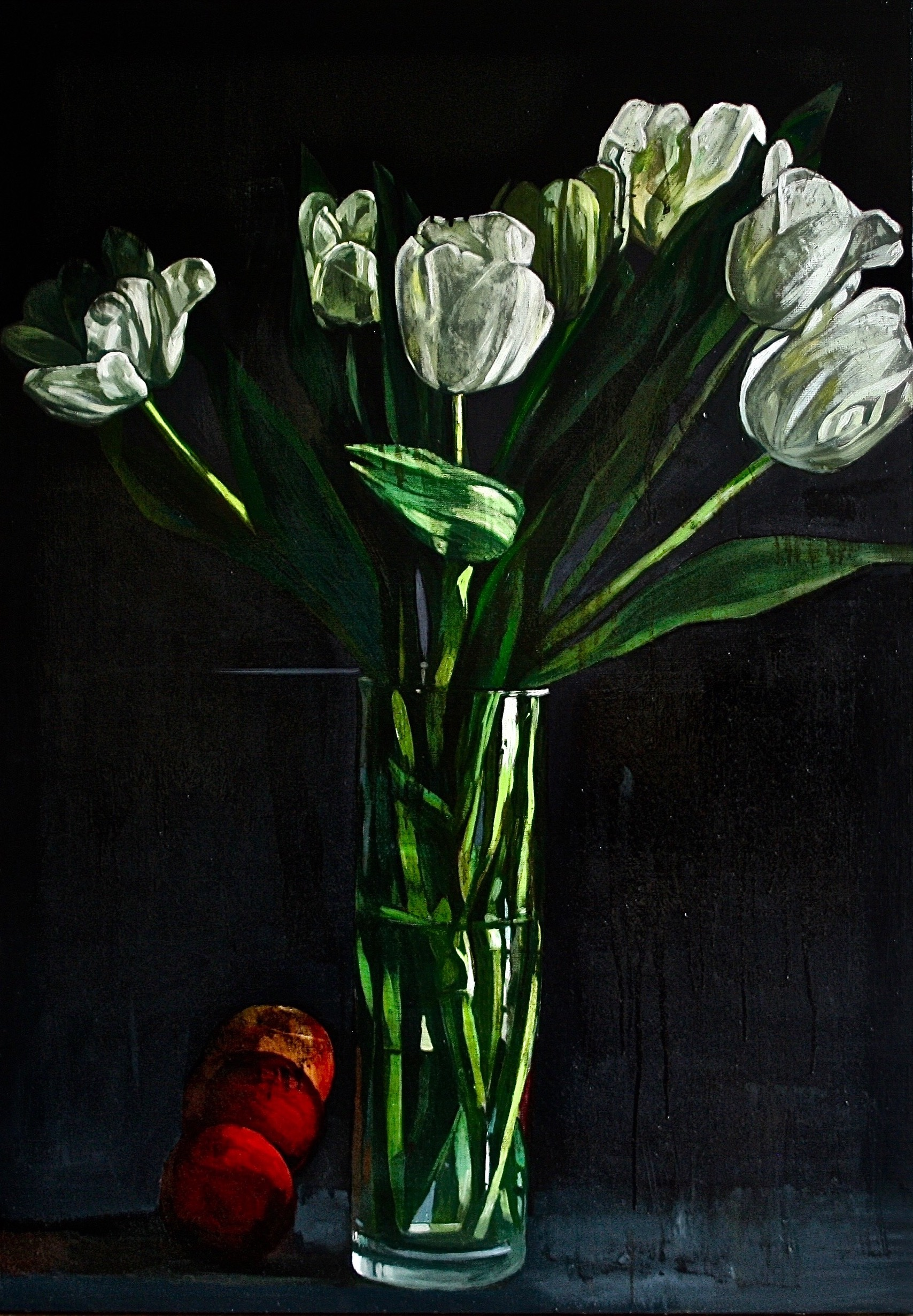 Tulipes blanches et pommes rouges Patrick Delaunay